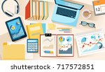 office desk from above. working ... | Shutterstock .eps vector #717572851