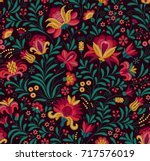 vector seamless pattern. floral ... | Shutterstock .eps vector #717576019