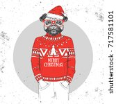 christmas hipster fashion... | Shutterstock .eps vector #717581101