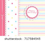 greeting card in pastel color... | Shutterstock .eps vector #717584545