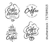 hand drawn coffee related... | Shutterstock .eps vector #717589015