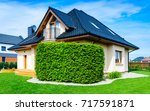 single family house with lawn... | Shutterstock . vector #717591871