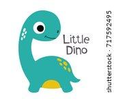 cute little dinosaur vector... | Shutterstock .eps vector #717592495