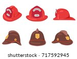 Fireman Helmets Set Side Front...