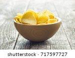 Crispy Potato Chips In Wooden...