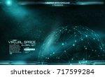 network and data exchange over ... | Shutterstock .eps vector #717599284
