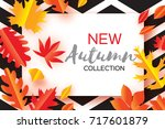 beautiful gold autumn paper cut ... | Shutterstock .eps vector #717601879