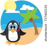snorkeling penguin at the beach | Shutterstock .eps vector #717602131