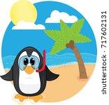 snorkeling penguin at the beach   Shutterstock .eps vector #717602131