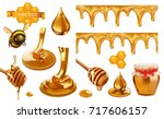 honey  bee  honeycomb  drop ... | Shutterstock .eps vector #717606157