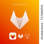 vector abstract fox origami... | Shutterstock .eps vector #717606541