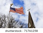 American Flag And Old Church...