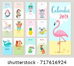 calendar 2018. cute monthly... | Shutterstock .eps vector #717616924