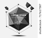 black polyhedron 3d vector... | Shutterstock .eps vector #717617587