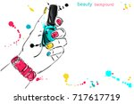 abstract banner with nail... | Shutterstock . vector #717617719