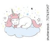 funny cartoon unicorn character ... | Shutterstock .eps vector #717619147
