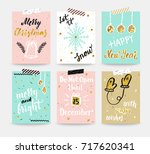 set of posters merry christmas... | Shutterstock .eps vector #717620341