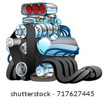 hot rod race car engine cartoon ... | Shutterstock .eps vector #717627445