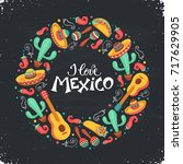 i love mexico poster  in circle ... | Shutterstock .eps vector #717629905