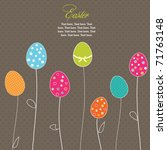 Easter Eggs Flowers Card With ...