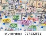 Mix Dollar And Euro Bills....