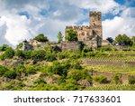 gutenfels  caub  castle and... | Shutterstock . vector #717633601