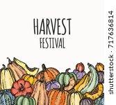 harvest festival card or banner.... | Shutterstock .eps vector #717636814