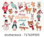 merry christmas happy new year... | Shutterstock .eps vector #717639505