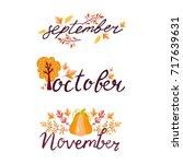 autumn hand drawn lettering... | Shutterstock .eps vector #717639631