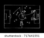 soccer tactic draft on dark... | Shutterstock .eps vector #717641551