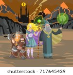 role party warriors in evil... | Shutterstock .eps vector #717645439