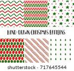 vector flat christmas holiday... | Shutterstock .eps vector #717645544