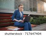 busy woman is in a hurry  she... | Shutterstock . vector #717647404