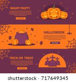 poster for halloween with the... | Shutterstock .eps vector #717649345