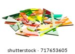 colorful pile of broken stained ... | Shutterstock . vector #717653605