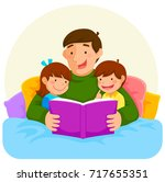 young father reading a book to... | Shutterstock .eps vector #717655351