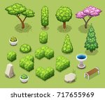 isometric trees and park... | Shutterstock .eps vector #717655969
