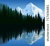 vector illustration   lake in... | Shutterstock .eps vector #717656881