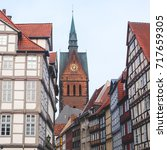 Stock photo beautiful summer view of hannover old town germany lower saxony 717659305