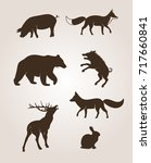 forest animal icons | Shutterstock .eps vector #717660841