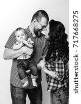 black and white portrait of... | Shutterstock . vector #717668275