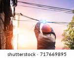 electricians are dismantling... | Shutterstock . vector #717669895