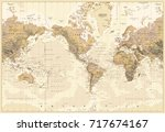 vintage physical world map... | Shutterstock .eps vector #717674167
