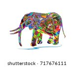 vector illustration of elephant ... | Shutterstock .eps vector #717676111