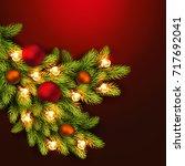 christmas fir branch with balls ... | Shutterstock .eps vector #717692041