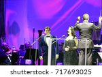 Small photo of BUCHAREST, ROMANIA - 15 SEPTEMBER, 2017: Angela Gheorghiu, Romania's operatic superstar, sings with tenor Teodor Ilincai and Filarmonica George Enescu in an open-air concert at Piata Constitutiei.