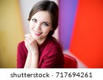 face of beautiful and admiring... | Shutterstock . vector #717694261