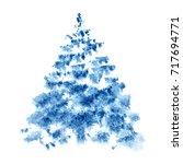 blue watercolor christmas tree... | Shutterstock . vector #717694771