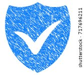 grunge shield valid icon with... | Shutterstock .eps vector #717696211