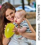 first birthday ideas. happy... | Shutterstock . vector #717698875